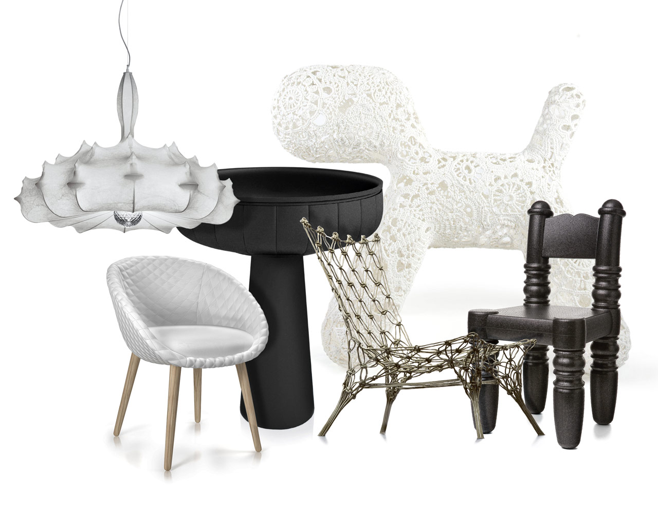 Zeppelin lampada, Flos 2005 Love sedia, Moooi 2013 Container Bowl, Moooi 2006 Knotted Chair, Droog 1996 Crochet Collection, Moooi 2015 Parent Chair, Moooi 2009